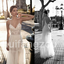 Beach Wedding Dresses Spaghetti Strap Bridal Gown A Line Lace Appliques Backless