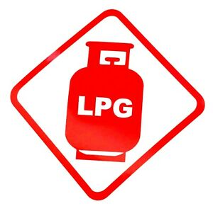 LPG WARNING STICKER, PACK OF 2 STICKERS, CARAVAN, MOTOR HOME, 120mm x 120 mm