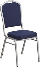 Lot Of 40 Hercules Series Crown Back Stacking Banquet Chair With Navy Fabric