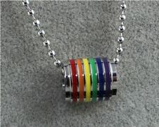GAY LESBIAN PRIDE RAINBOW FLAG STAINLESS STEEL BARREL RING PENDANT WITH CHAIN