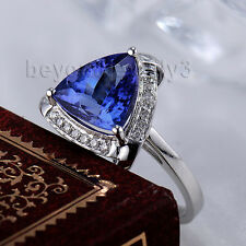 18K WHITE GOLD TRILLION 8X8MM ENGAGEMENT Wedding TANZANITE DIAMOND Gem RING