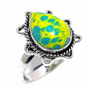 Mosaic Yellow Turquoise Gemstone Ethnic 925 Sterling Silver Ring Size 10