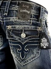 "$220 Mens Rock Revival Jean ""John"" Leather Inserts Straight Leg 32 X 33"