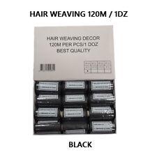 BLACK 120M COTTON  HAIR EXTENSIONS WEAVING WEFT THREAD 12PCS