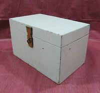 Vintage Handcrafted Painted Wood Key Storage Safe Box Chest w Hasp Lock FREE S/H