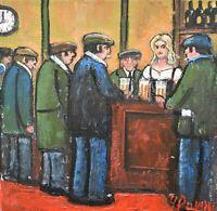 Quirky James Downie Original Oil Painting - The New Landlady (Pub Scene)
