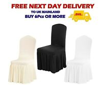 PLEATED SKIRT CHAIR COVERS Spandex Removable Slipcovers Universal Size Loose Fit