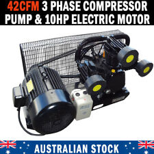 NEW 42CFM 3 PHASE COMPRESSOR PUMP & 10hp ELECTRIC MOTOR FULL SETUP MINUS TANK