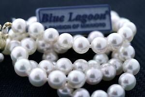 MIKIMOTO Blue Lagoon 5.5-6.0mm Akoya Pearl Necklace 16 Inch 14k Gold Clasp