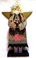 """Vintage Handmade 14"""" Wooden Angel Doll On Stand- Glued On Roses, Hair & Clothes"""