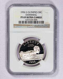 1996 S NGC PF69 UltraCameo Olympic Swimming Commemorative Half Dollar Item#J7036