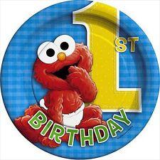 SESAME STREET 1st BIRTHDAY SMALL PAPER PLATES (8) ~ Birthday Party Supplies Cake