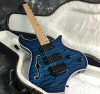 Headless Electric Guitar 5A Quilted Maple Top Veneer Active Pickups Fixed Bridge