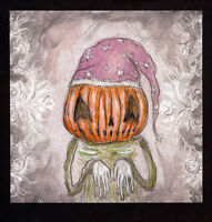 GUS FINK art ORIGINAL painting artist outsider abstract lowbrow SLEEPY PUMPKIN