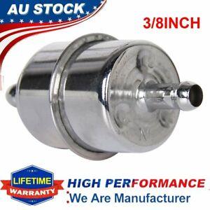 "3/8 Inch Fuel Filter Inline Filter Inlet 3/8"" Universal Chrome Glass Fuel Diesel"