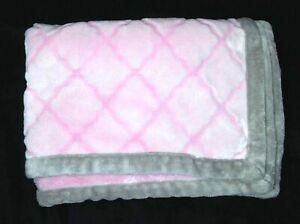 Bananafish Studios Pink Gray Embossed Diamonds Baby Girl Blanket Plush Lovey EUC