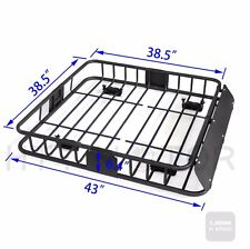 220 Lbs Universal Black Steel Cargo Carrier Roof Rack Basket Cross Bar SUV -HTT