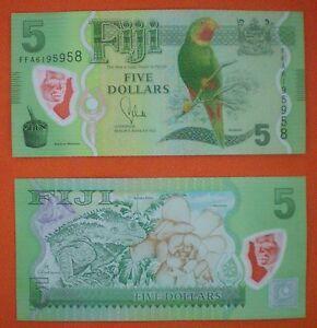 Fiji $ 5 FIVE Dollars 2013 Polymer P-115 Bank Note PREFIX FFA UNC AUTHENTIC