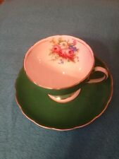 Vintage Foley China England Cup and Saucer Kelly Green with Flowers