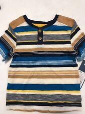 Genuine Kids by OshKosh Toddler Boys Turquoise Stripe Short Sleeve Shirt 2T NWT