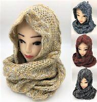 Warm Winter Two-Tone Winter Pullover Knit Hood Infinity Scarf Loop Hood Knit