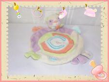 G - Doudou Semi Plat Rond Panda Le Pandy Jaune Mauve Orange Beige Baby Nat