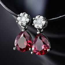 HUCHE Drop Pear Cut Red Sapphire Ruby Crystal Silver Metal Women Party Earrings