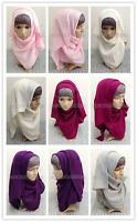 Autumn Winter Style Solid Color Muslim Long Scarf Hijab Islamic Shawls 180*60cm