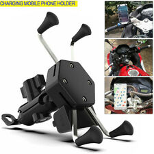 Universal Motorcycle Cell Phone Handlebar Mount Holder USB Charger 3-6.5 Inch