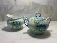 RARE! ANTIQUE 1917 Z.S & CO BAVARIA~ Creamer & Sugar Set~ Blue Floral~ EVC