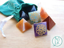 Energy Charged Crystal Pyramids 7 Chakra Set Gemstones with Pouch Healing Reiki