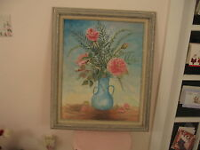 OMG Gorgeous Large Vintage Framed Oil Painting Vase With Pink Roses Signed