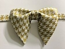 Handmade Gold/White Houndstooth Bow tie Vintage style 70s Wedding Prom Gift