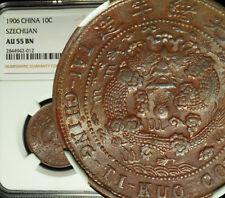 1906 China Empire SZECHUAN 10 Cash NGC AU 55 LUSTER SHARP DETAILS