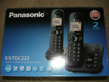 Pansonic KX-TGC222 Digital Cordless Answering Phone 2 Handsets Black - New