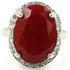Classic Oval Real Red Ruby ,White CZ Woman's Wedding Silver Ring US 10.5#
