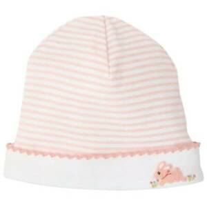 Mud Pie Classic Layette Pink Striped French Knot Bunny Cap  0-3 Months