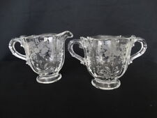Fostoria Clear Glass  Baroque Etched Meadow Rose Cream and Sugar Free Shipping