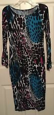 CHIC! London Multi-colored Form Fitting S/M Dress LS Animal Print