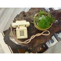 Vintage Phone Hotel Desk Table Telephone Tan Beige Push Button