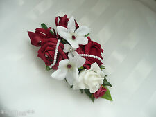 Wedding Flower Buttonhole Corsage Ruby Red Rose & Stephanotis .... PIN ON