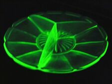 More details for art deco uranium green glass  hors d'oevres dish