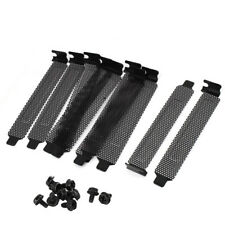 10PCs PCI Bracket Slot Cover Dust Filter Black Steel Blank Blanking Plate+Screws