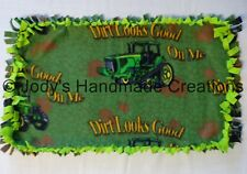HANDMADE BABY / PET MINI FLEECE TIED SECURITY BLANKET - JOHN DEERE/ GREEN 14X24
