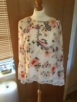 Stunning M&S PER UNA Top Uk16 Pink Mix Cami Lined Floral Lace Detail BNWTS 6399