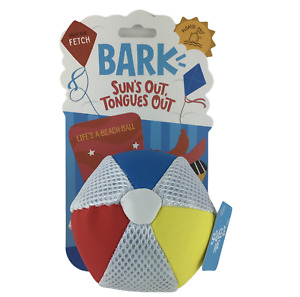 BARK Beach Ball Squeaky Dog Toy Play Fetch & Water Resistant Medium-X Large Dogs