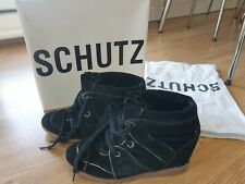 Schutz Saint Bridget Hidden Wedge Trainer/ Sneaker Black Suede UK 5/ US 7