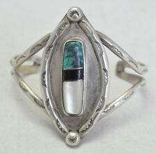 Large VTG Native American Sterling Silver Cuff w Turquoise Onyx & Mop