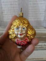 Inge Glas Blonde Angel Cherub Head Blown Glass Old World Christmas Ornament RARE