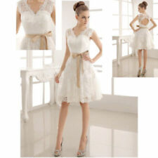 Short/Mini V-Neck Wedding Dress Lace Cap Sleeve Bridal Gown Satin Custom Size